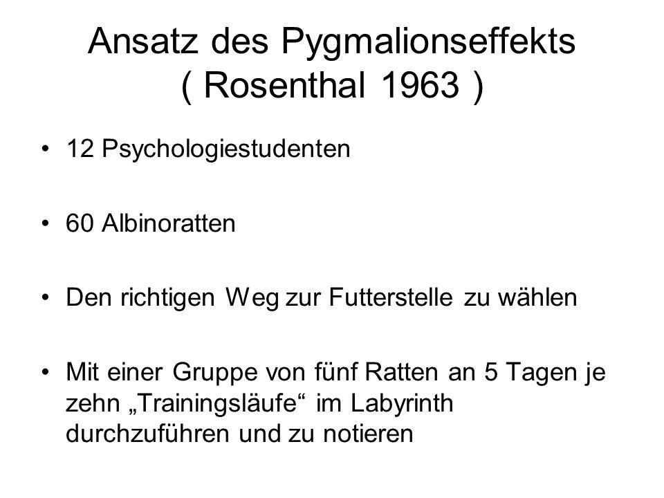 """Ansatz des Pygmalionseffekts ( Rosenthal 1963 ) 12 Psychologiestudenten 60 Albinoratten Den richtigen Weg zur Futterstelle zu wählen Mit einer Gruppe von fünf Ratten an 5 Tagen je zehn """"Trainingsläufe im Labyrinth durchzuführen und zu notieren"""