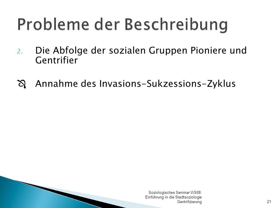 2. Die Abfolge der sozialen Gruppen Pioniere und Gentrifier  Annahme des Invasions-Sukzessions-Zyklus 21 Soziologisches Seminar WS08: Einführung in d