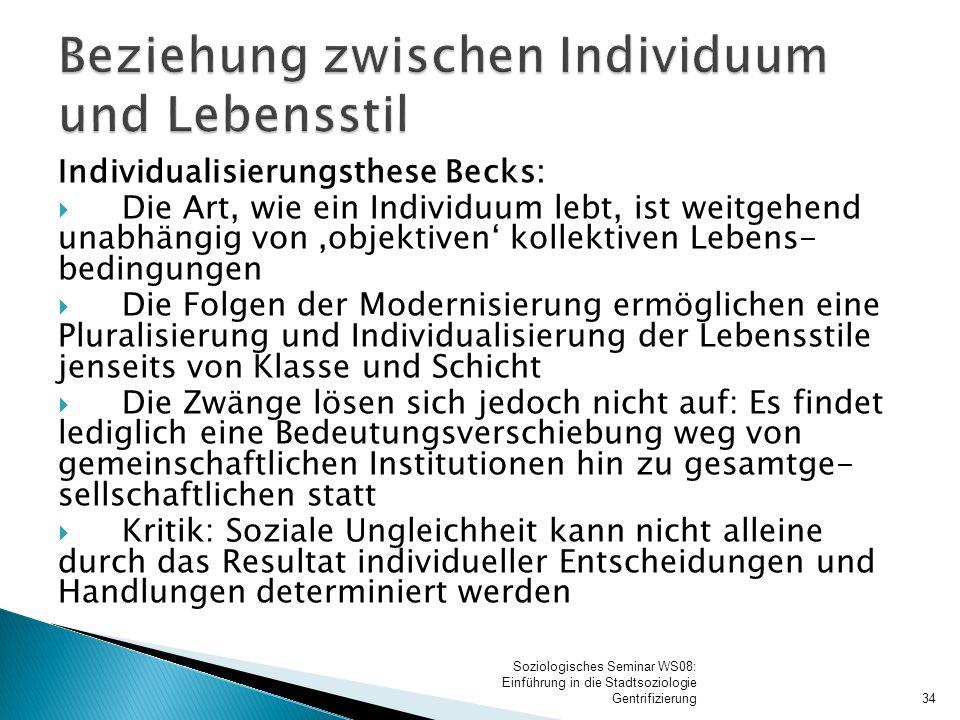 Individualisierungsthese Becks:  Die Art, wie ein Individuum lebt, ist weitgehend unabhängig von 'objektiven' kollektiven Lebens- bedingungen  Die F