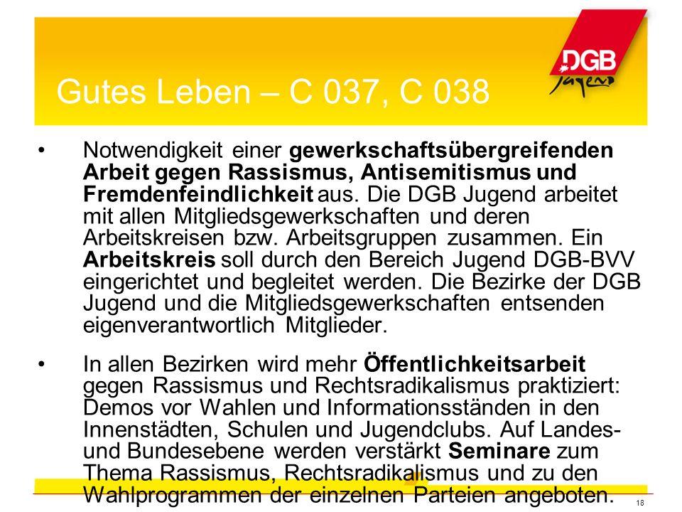 18 Notwendigkeit einer gewerkschaftsübergreifenden Arbeit gegen Rassismus, Antisemitismus und Fremdenfeindlichkeit aus.