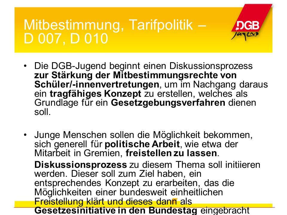 Mitbestimmung, Tarifpolitik – D 007, D 010 Die DGB-Jugend beginnt einen Diskussionsprozess zur Stärkung der Mitbestimmungsrechte von Schüler/-innenver