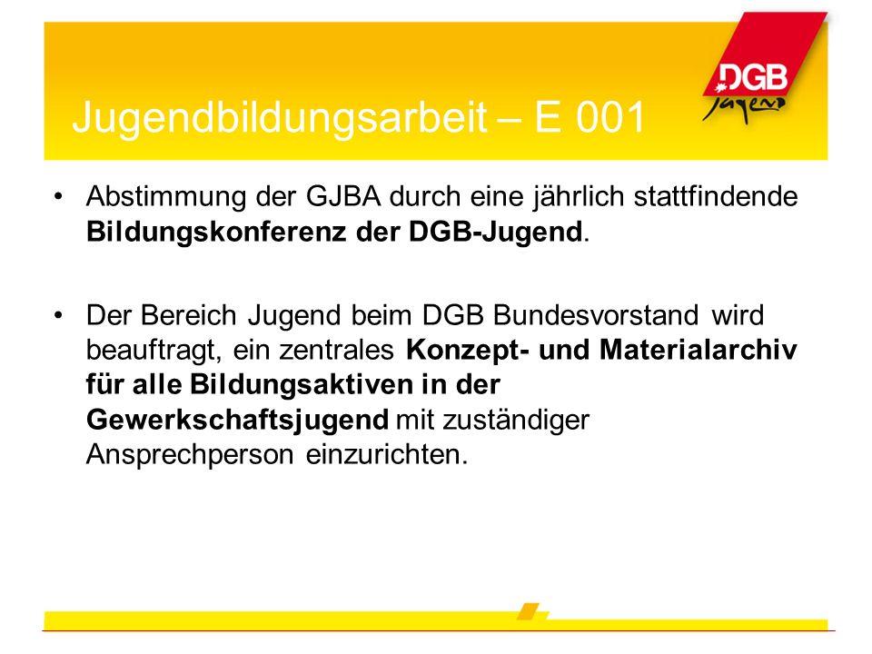Abstimmung der GJBA durch eine jährlich stattfindende Bildungskonferenz der DGB-Jugend. Der Bereich Jugend beim DGB Bundesvorstand wird beauftragt, ei