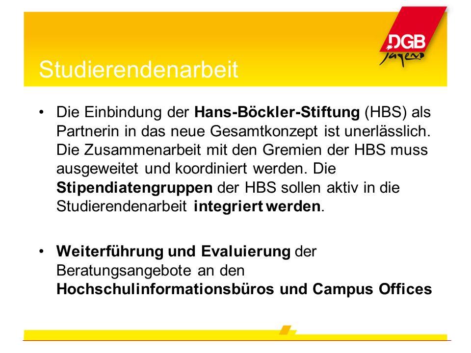 Studierendenarbeit Die Einbindung der Hans-Böckler-Stiftung (HBS) als Partnerin in das neue Gesamtkonzept ist unerlässlich. Die Zusammenarbeit mit den