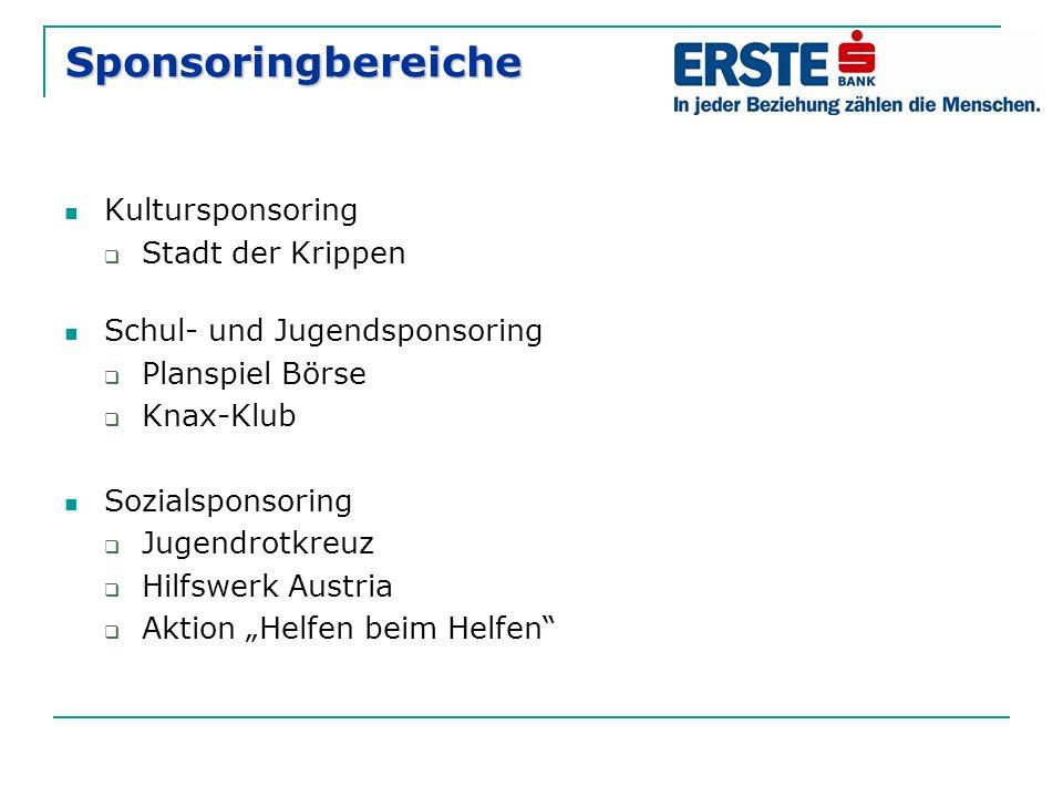 Sponsoringbereiche Kultursponsoring  Stadt der Krippen Schul- und Jugendsponsoring  Planspiel Börse  Knax-Klub Sozialsponsoring  Jugendrotkreuz 