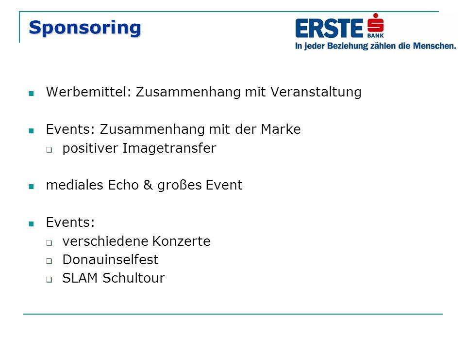 Sponsoring Werbemittel: Zusammenhang mit Veranstaltung Events: Zusammenhang mit der Marke  positiver Imagetransfer mediales Echo & großes Event Event