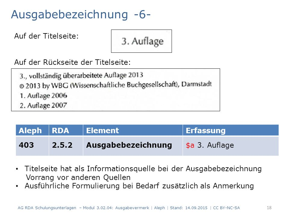 Ausgabebezeichnung -6- AG RDA Schulungsunterlagen – Modul 3.02.04: Ausgabevermerk | Aleph | Stand: 14.09.2015 | CC BY-NC-SA AlephRDAElementErfassung 4