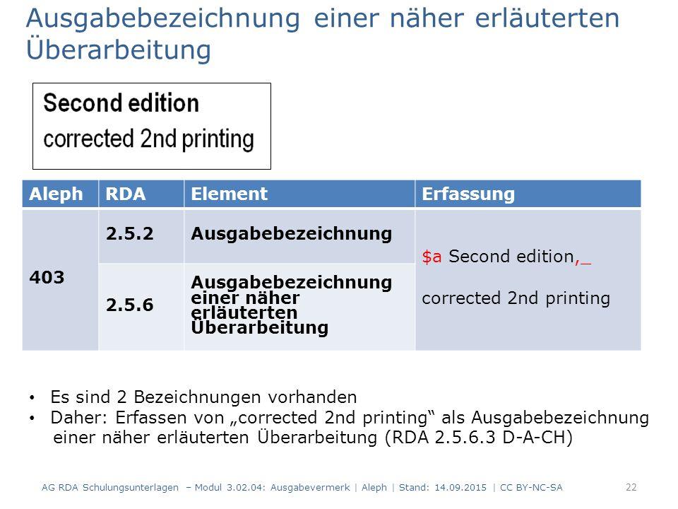 Ausgabebezeichnung einer näher erläuterten Überarbeitung AG RDA Schulungsunterlagen – Modul 3.02.04: Ausgabevermerk | Aleph | Stand: 14.09.2015 | CC B