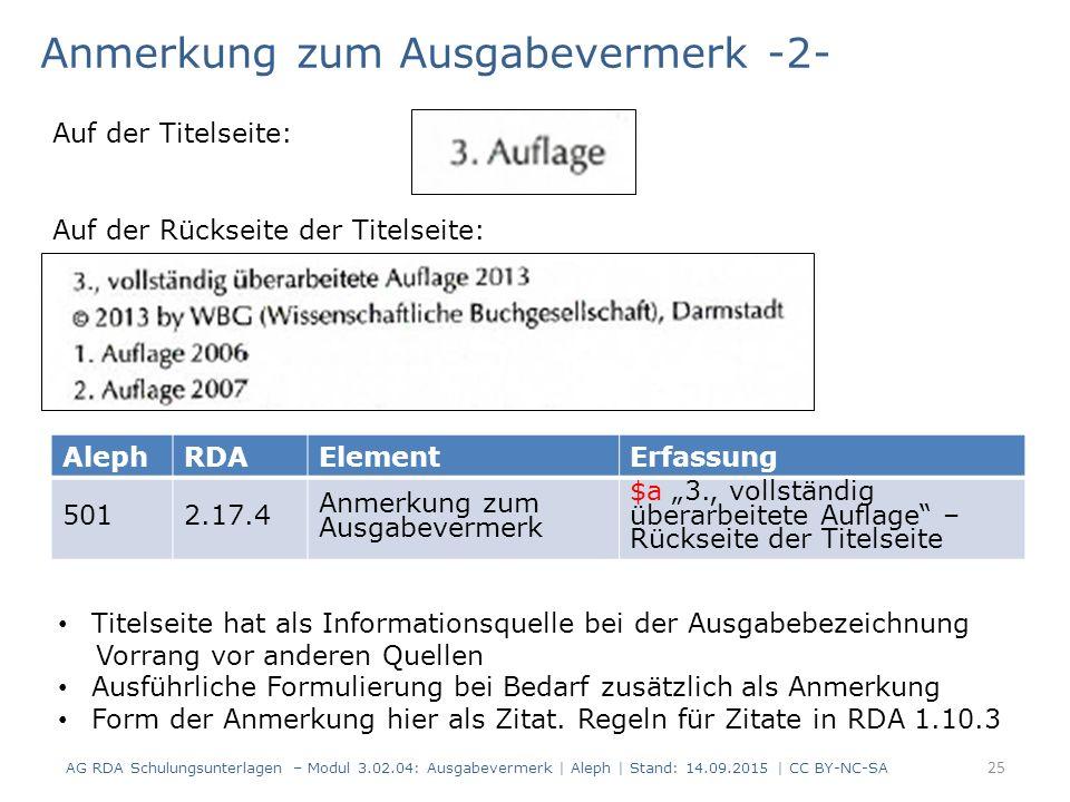 Anmerkung zum Ausgabevermerk -2- AG RDA Schulungsunterlagen – Modul 3.02.04: Ausgabevermerk | Aleph | Stand: 14.09.2015 | CC BY-NC-SA AlephRDAElementE