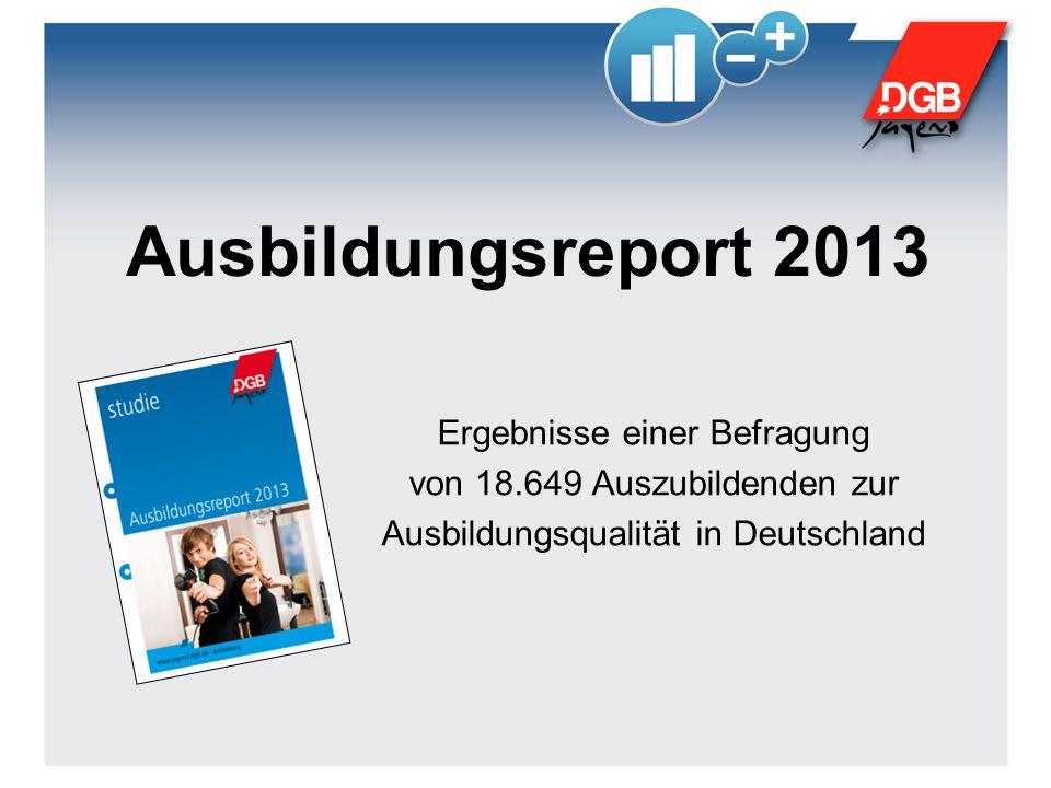Ausbildungsreport 2013 Ergebnisse einer Befragung von 18.649 Auszubildenden zur Ausbildungsqualität in Deutschland