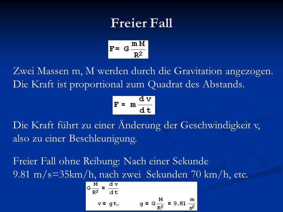 Freier Fall Zwei Massen m, M werden durch die Gravitation angezogen.