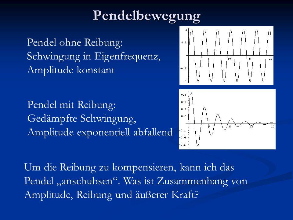 """Pendelbewegung Pendel ohne Reibung: Schwingung in Eigenfrequenz, Amplitude konstant Pendel mit Reibung: Gedämpfte Schwingung, Amplitude exponentiell abfallend Um die Reibung zu kompensieren, kann ich das Pendel """"anschubsen ."""