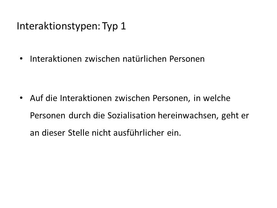 Interaktionstypen: Typ 1 Interaktionen zwischen natürlichen Personen Auf die Interaktionen zwischen Personen, in welche Personen durch die Sozialisati