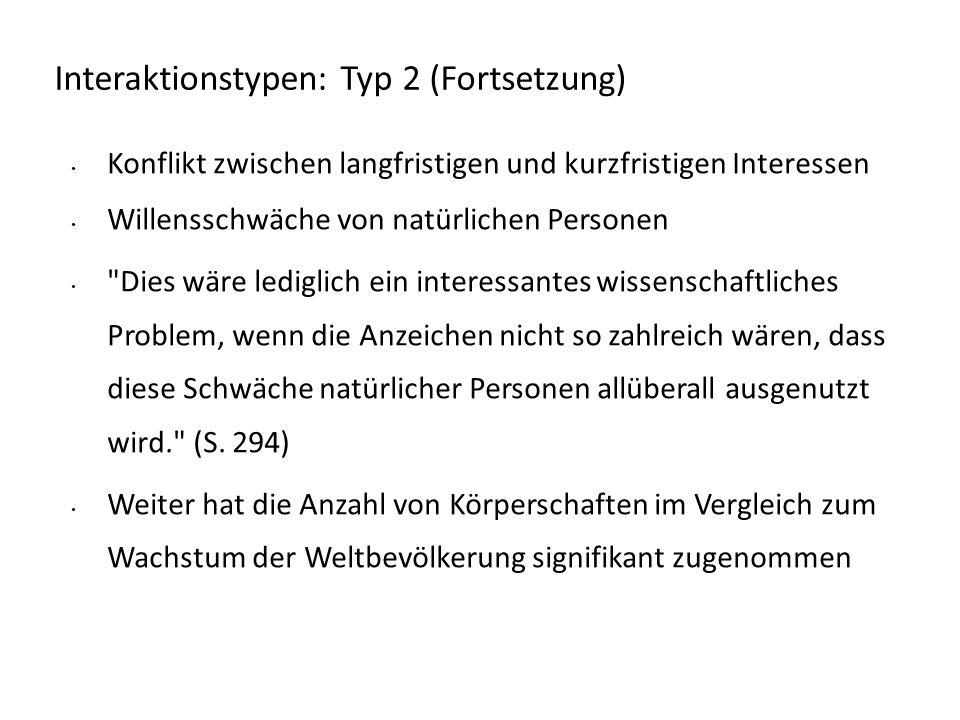 Interaktionstypen: Typ 2 (Fortsetzung) Konflikt zwischen langfristigen und kurzfristigen Interessen Willensschwäche von natürlichen Personen