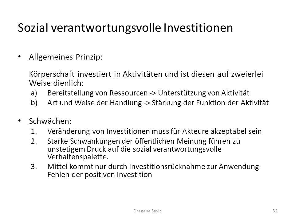Sozial verantwortungsvolle Investitionen Allgemeines Prinzip: Körperschaft investiert in Aktivitäten und ist diesen auf zweierlei Weise dienlich: a)Be
