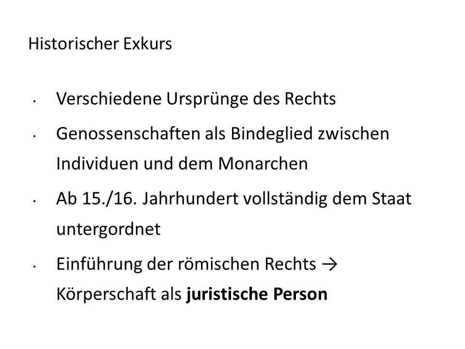 Historischer Exkurs Verschiedene Ursprünge des Rechts Genossenschaften als Bindeglied zwischen Individuen und dem Monarchen Ab 15./16. Jahrhundert vol