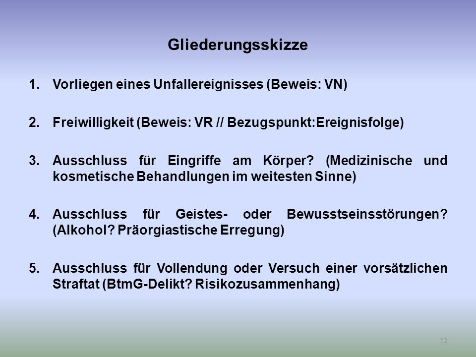 Gliederungsskizze 1.Vorliegen eines Unfallereignisses (Beweis: VN) 2.Freiwilligkeit (Beweis: VR // Bezugspunkt:Ereignisfolge) 3.Ausschluss für Eingriffe am Körper.