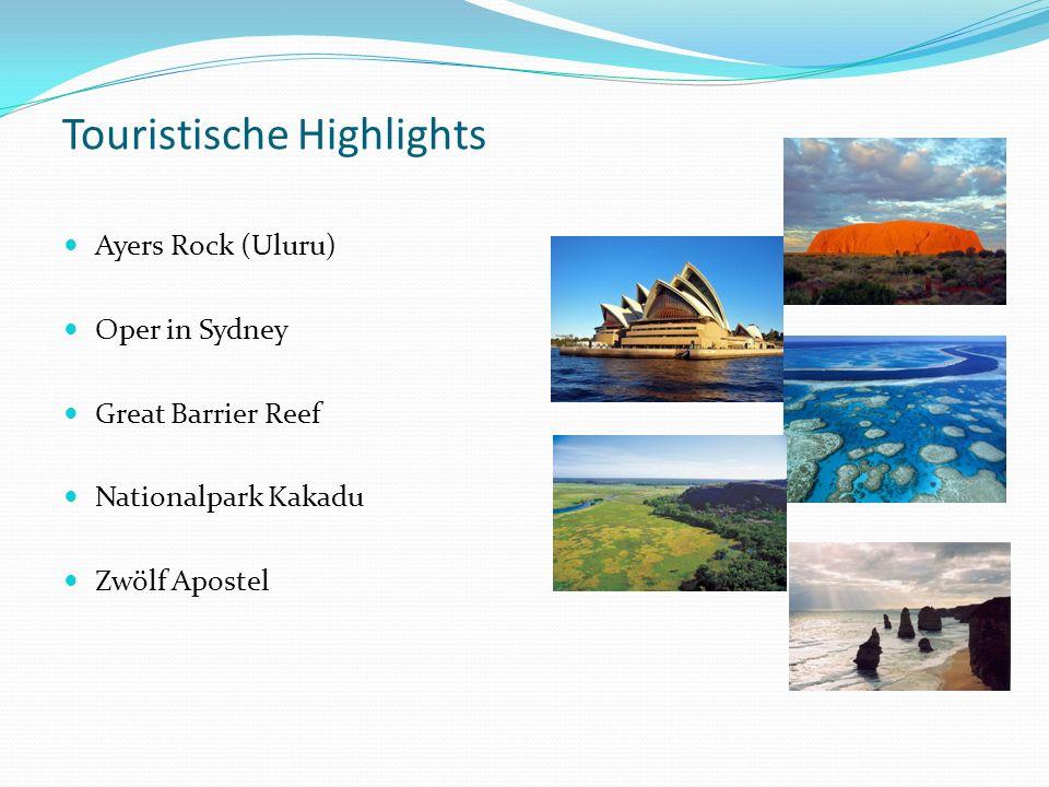 Touristische Highlights Ayers Rock (Uluru) Oper in Sydney Great Barrier Reef Nationalpark Kakadu Zwölf Apostel