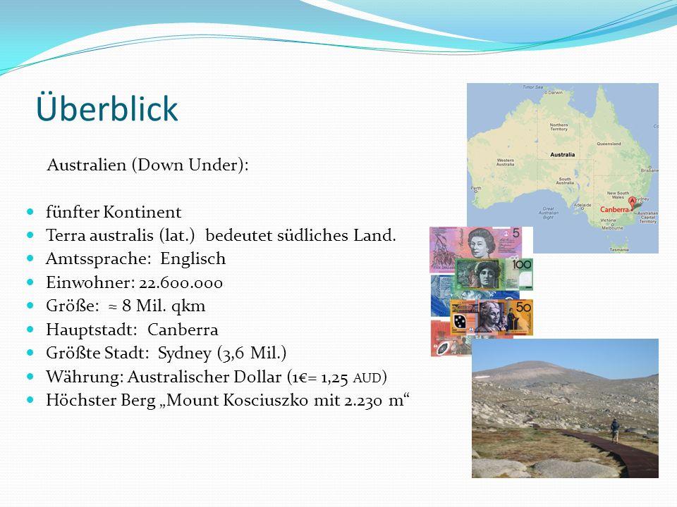Überblick Australien (Down Under): fünfter Kontinent Terra australis (lat.) bedeutet südliches Land. Amtssprache: Englisch Einwohner: 22.600.000 Größe