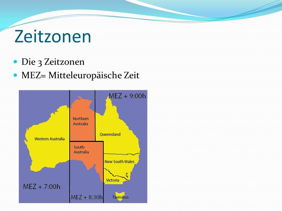 Zeitzonen Die 3 Zeitzonen MEZ= Mitteleuropäische Zeit