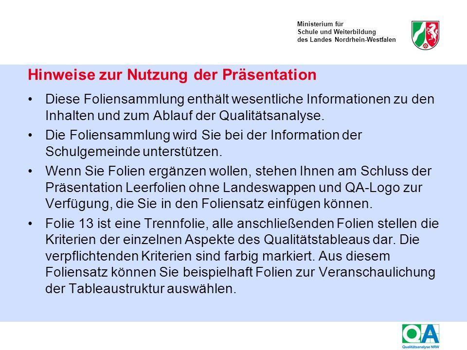 Ministerium für Schule und Weiterbildung des Landes Nordrhein-Westfalen Diese Foliensammlung enthält wesentliche Informationen zu den Inhalten und zum Ablauf der Qualitätsanalyse.
