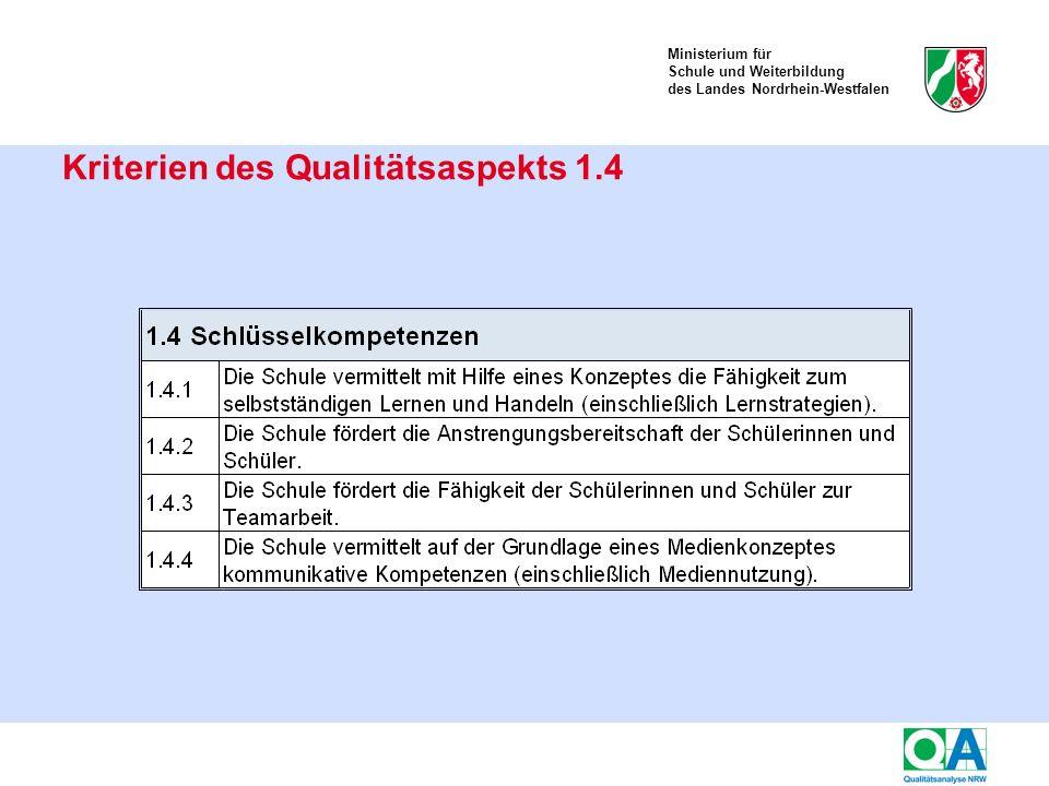 Ministerium für Schule und Weiterbildung des Landes Nordrhein-Westfalen Kriterien des Qualitätsaspekts 1.4