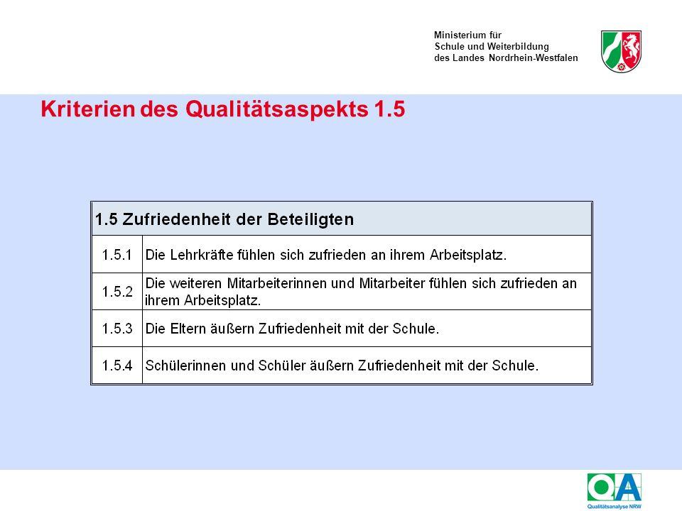 Ministerium für Schule und Weiterbildung des Landes Nordrhein-Westfalen Kriterien des Qualitätsaspekts 1.5