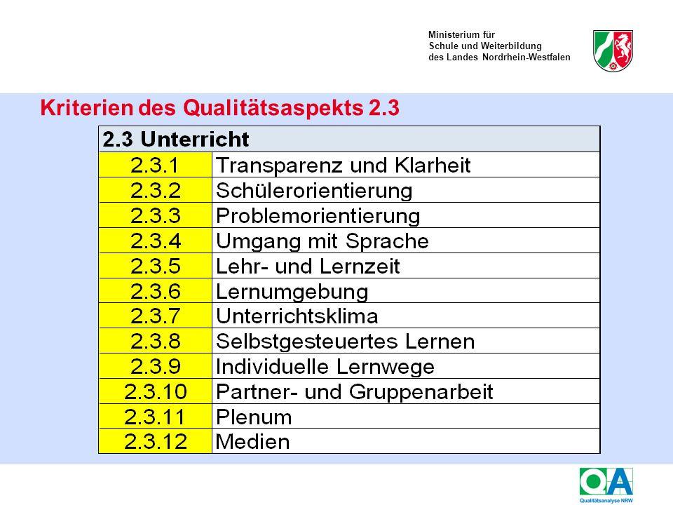 Ministerium für Schule und Weiterbildung des Landes Nordrhein-Westfalen Kriterien des Qualitätsaspekts 2.3