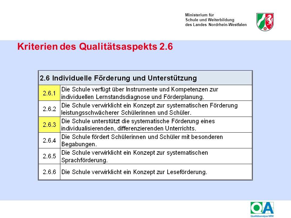 Ministerium für Schule und Weiterbildung des Landes Nordrhein-Westfalen Kriterien des Qualitätsaspekts 2.6