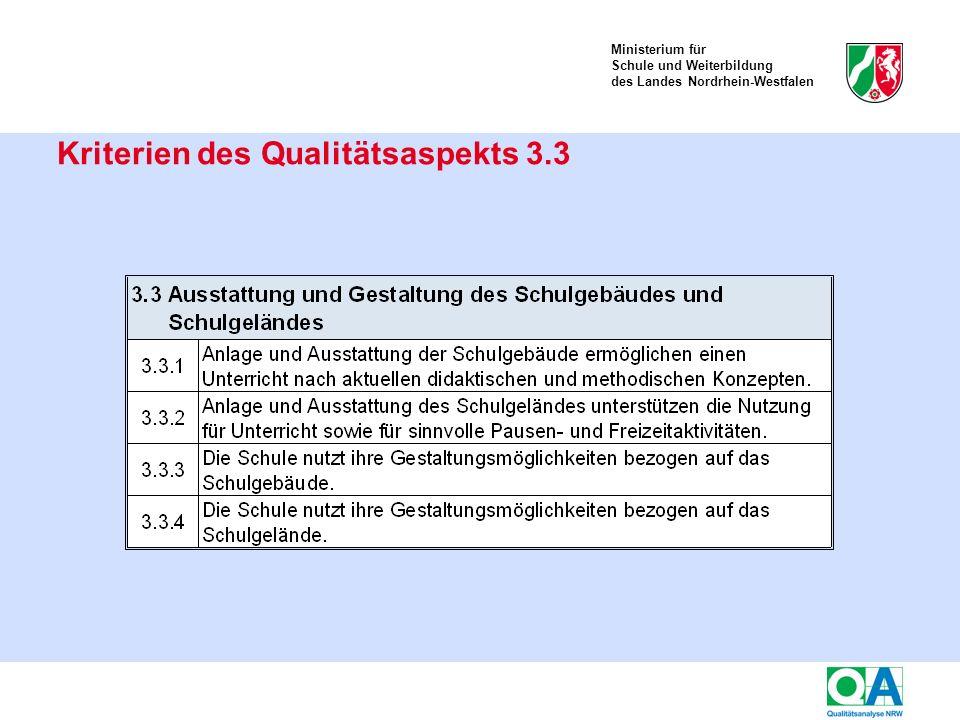 Ministerium für Schule und Weiterbildung des Landes Nordrhein-Westfalen Kriterien des Qualitätsaspekts 3.3