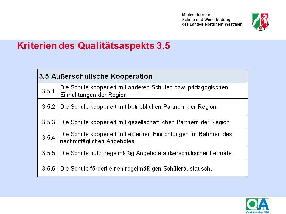 Ministerium für Schule und Weiterbildung des Landes Nordrhein-Westfalen Kriterien des Qualitätsaspekts 3.5