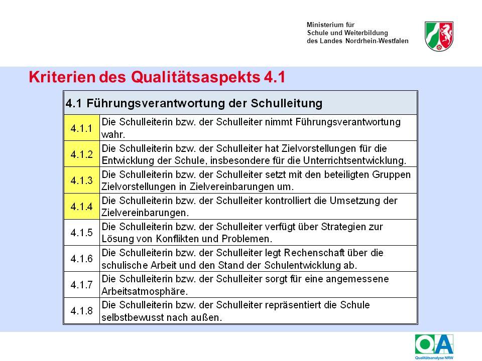 Ministerium für Schule und Weiterbildung des Landes Nordrhein-Westfalen Kriterien des Qualitätsaspekts 4.1