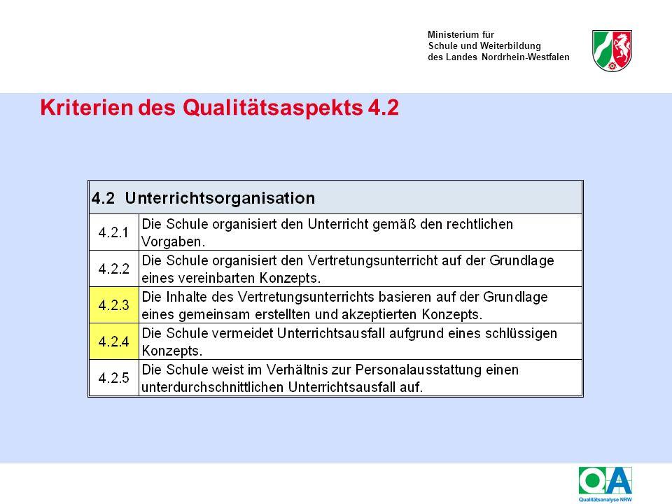 Ministerium für Schule und Weiterbildung des Landes Nordrhein-Westfalen Kriterien des Qualitätsaspekts 4.2