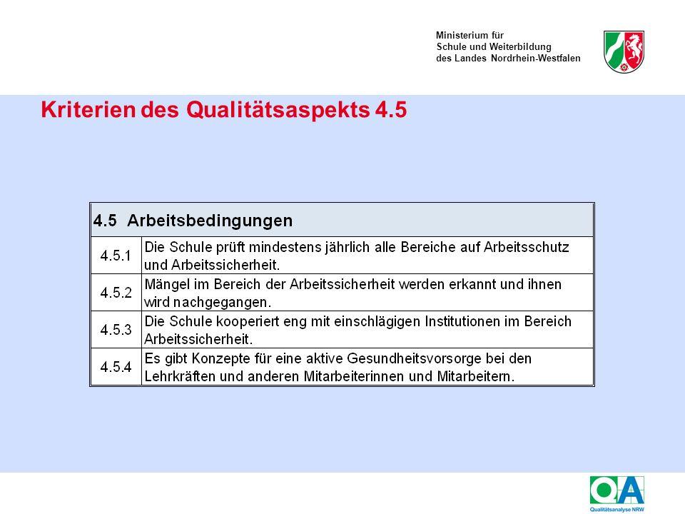Ministerium für Schule und Weiterbildung des Landes Nordrhein-Westfalen Kriterien des Qualitätsaspekts 4.5