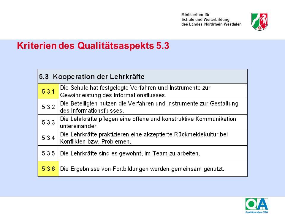 Ministerium für Schule und Weiterbildung des Landes Nordrhein-Westfalen Kriterien des Qualitätsaspekts 5.3