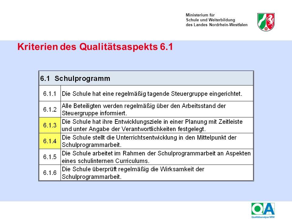 Ministerium für Schule und Weiterbildung des Landes Nordrhein-Westfalen Kriterien des Qualitätsaspekts 6.1