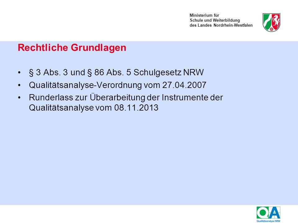 Ministerium für Schule und Weiterbildung des Landes Nordrhein-Westfalen Jedem der 6 Qualitätsbereiche sind Aspekte und Kriterien zugeordnet.