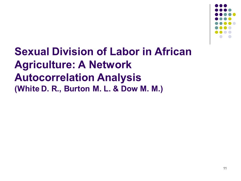 11 Sexual Division of Labor in African Agriculture: A Network Autocorrelation Analysis (White D. R., Burton M. L. & Dow M. M.)
