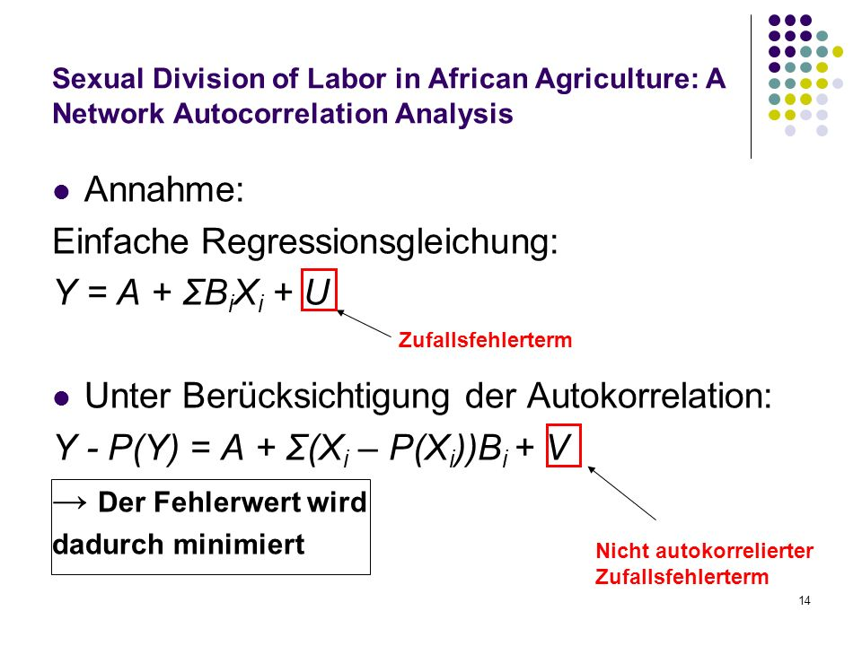 14 Sexual Division of Labor in African Agriculture: A Network Autocorrelation Analysis Annahme: Einfache Regressionsgleichung: Y = A + ΣB i X i + U Un