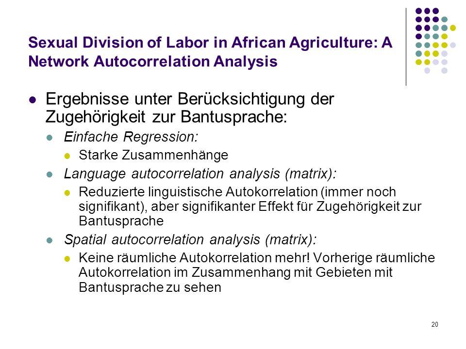 20 Sexual Division of Labor in African Agriculture: A Network Autocorrelation Analysis Ergebnisse unter Berücksichtigung der Zugehörigkeit zur Bantusp