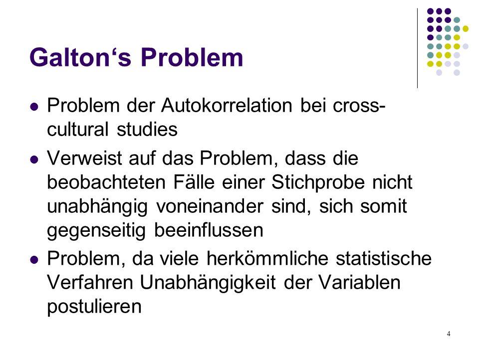4 Galton's Problem Problem der Autokorrelation bei cross- cultural studies Verweist auf das Problem, dass die beobachteten Fälle einer Stichprobe nicht unabhängig voneinander sind, sich somit gegenseitig beeinflussen Problem, da viele herkömmliche statistische Verfahren Unabhängigkeit der Variablen postulieren