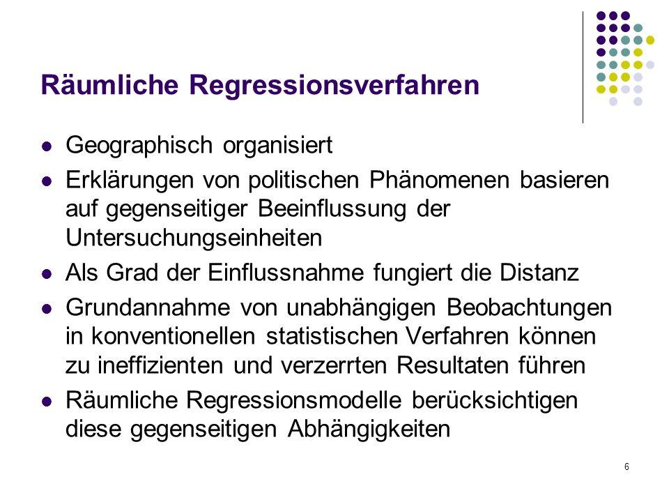 6 Räumliche Regressionsverfahren Geographisch organisiert Erklärungen von politischen Phänomenen basieren auf gegenseitiger Beeinflussung der Untersuc