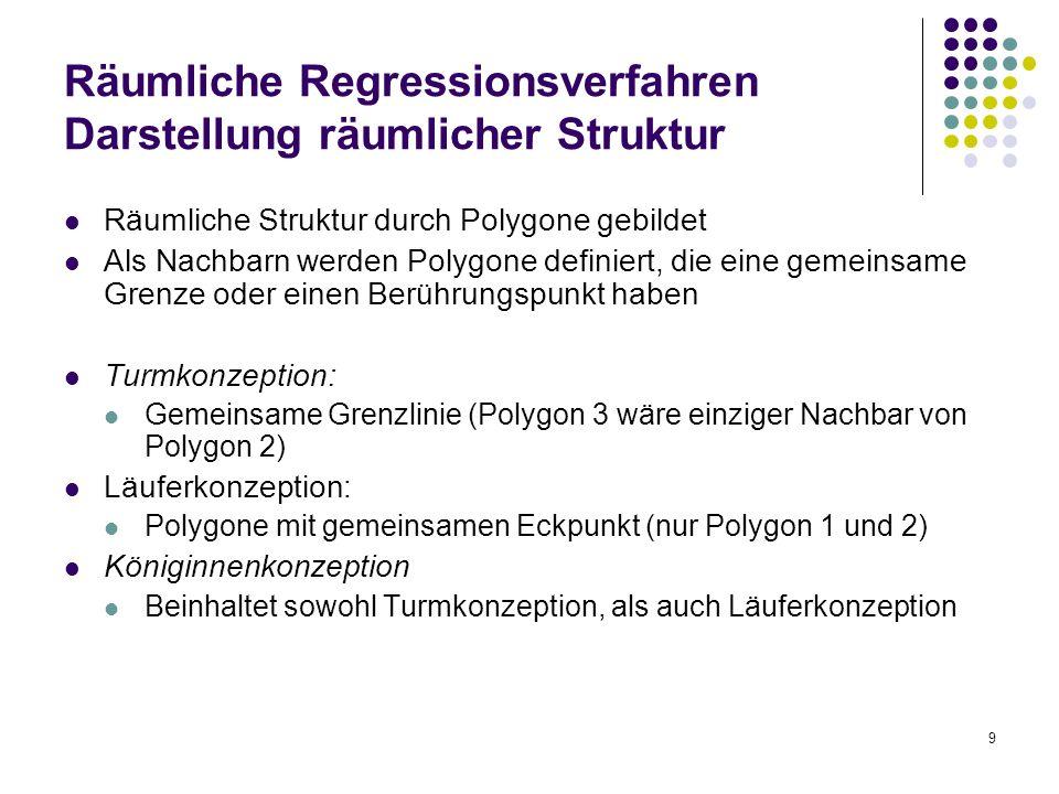 9 Räumliche Regressionsverfahren Darstellung räumlicher Struktur Räumliche Struktur durch Polygone gebildet Als Nachbarn werden Polygone definiert, di