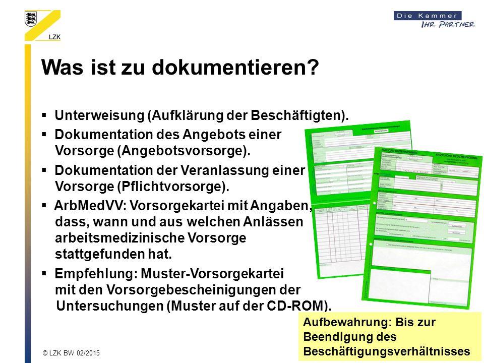 Was ist zu dokumentieren?  Unterweisung (Aufklärung der Beschäftigten).  Dokumentation des Angebots einer Vorsorge (Angebotsvorsorge).  Dokumentati
