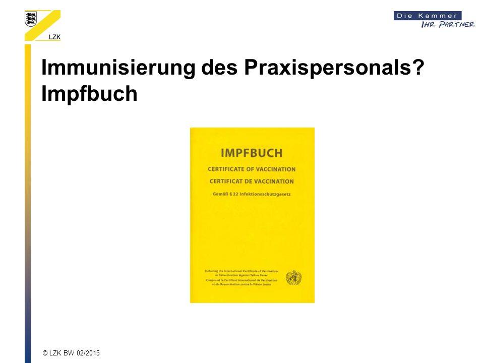 Immunisierung des Praxispersonals? Impfbuch
