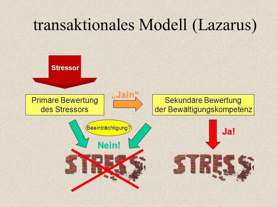 """transaktionales Modell (Lazarus) Stressor Primäre Bewertung des Stressors Sekundäre Bewertung der Bewältigungskompetenz Beeinträchtigung? Nein! """"Jain"""""""