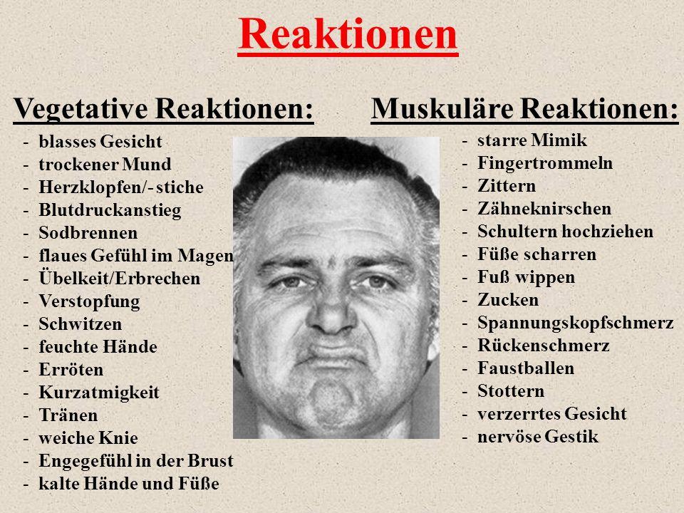 Vegetative Reaktionen:Muskuläre Reaktionen: - blasses Gesicht - trockener Mund - Herzklopfen/- stiche - Blutdruckanstieg - Sodbrennen - flaues Gefühl