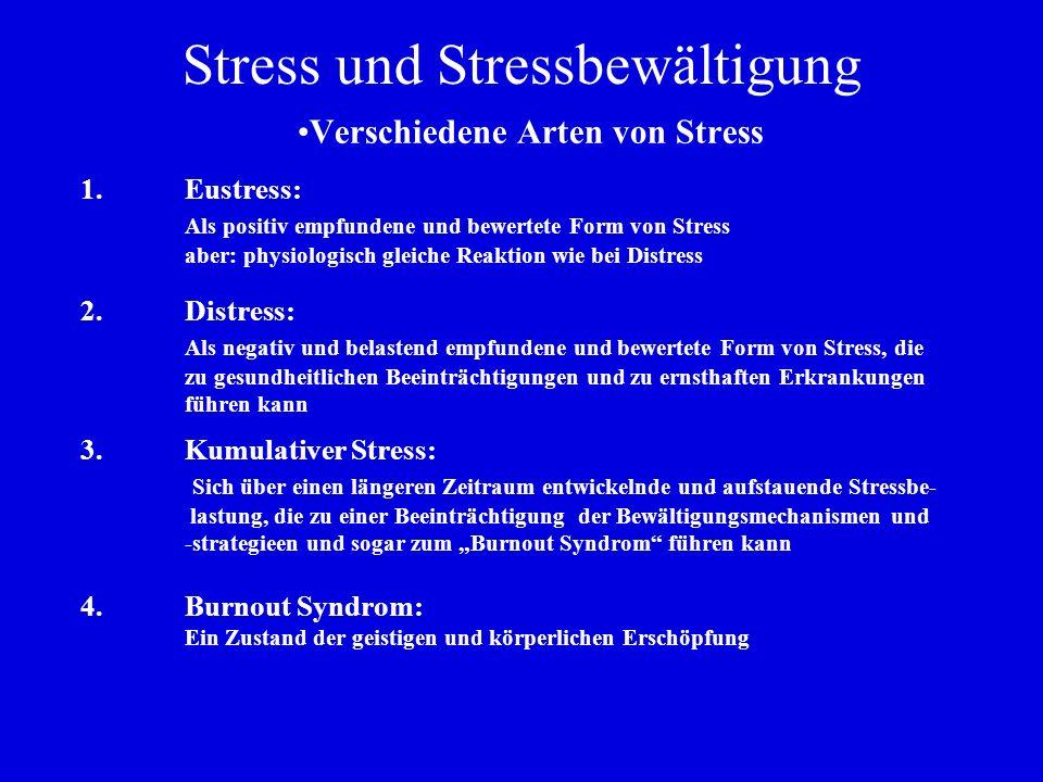 Stress und Stressbewältigung Verschiedene Arten von Stress 1.Eustress: Als positiv empfundene und bewertete Form von Stress aber: physiologisch gleich