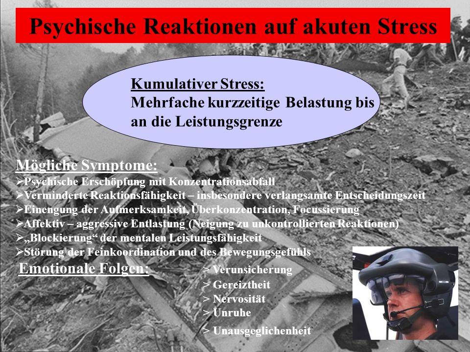 Kumulativer Stress: Mehrfache kurzzeitige Belastung bis an die Leistungsgrenze Mögliche Symptome:  Psychische Erschöpfung mit Konzentrationsabfall 