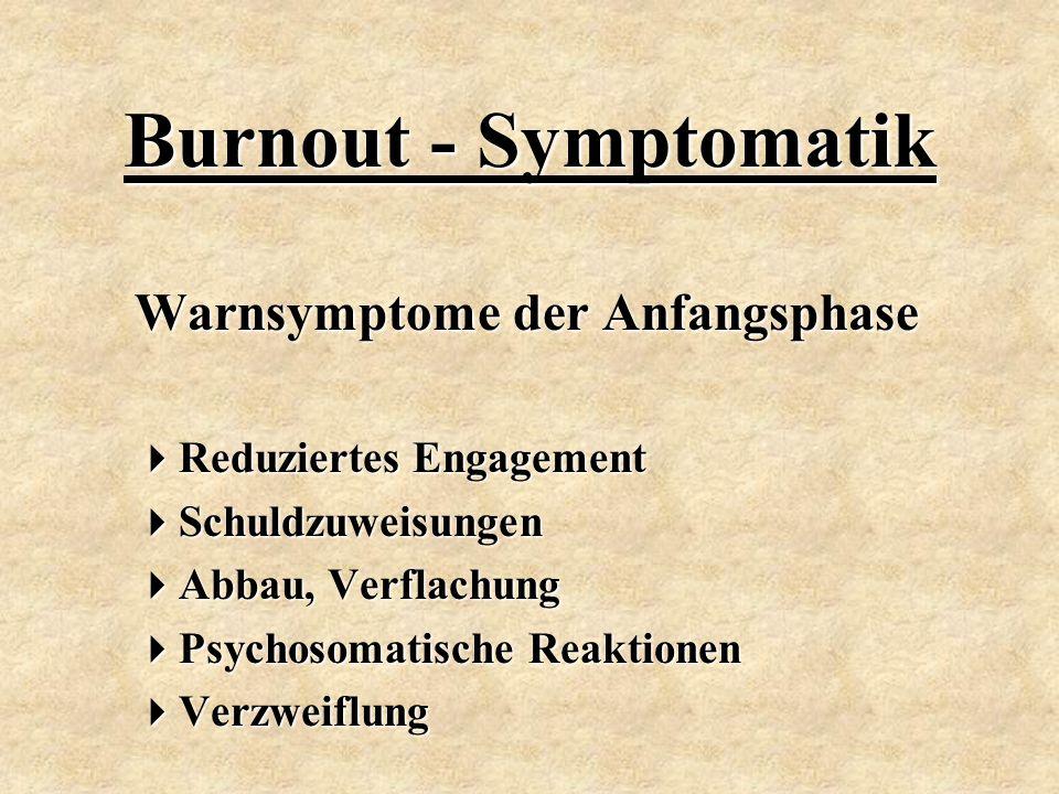 Warnsymptome der Anfangsphase  Reduziertes Engagement  Schuldzuweisungen  Abbau, Verflachung  Psychosomatische Reaktionen  Verzweiflung Burnout -