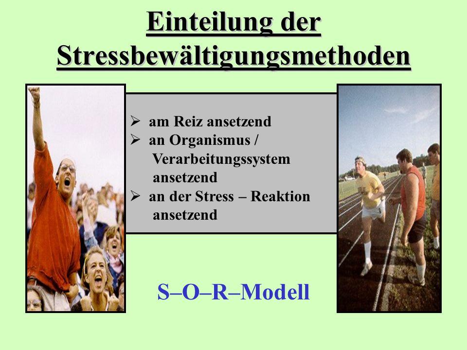 Einteilung der Stressbewältigungsmethoden S–O–R–Modell  am Reiz ansetzend  an Organismus / Verarbeitungssystem ansetzend  an der Stress – Reaktion
